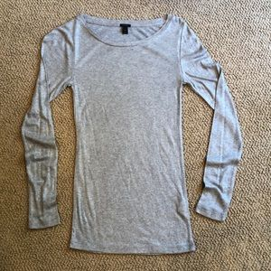 J Crew long sleeve t shirt grey shimmer size XS
